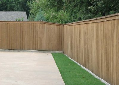 Capped Wood Privacy Fence