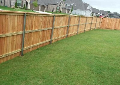 Wood Fence With Steel Posts
