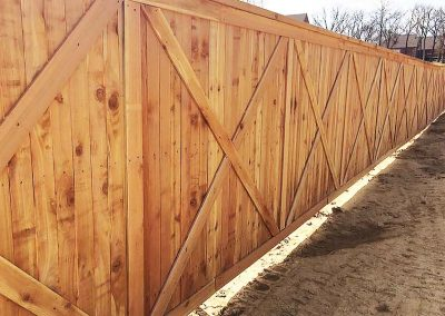 Custom Wood Privacy Fence With X-Pattern
