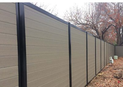 Horizontal Privacy Fence Gray Composite & Black Metal