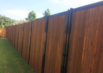 Stained Wood & Metal Privacy Fence FenceTrac