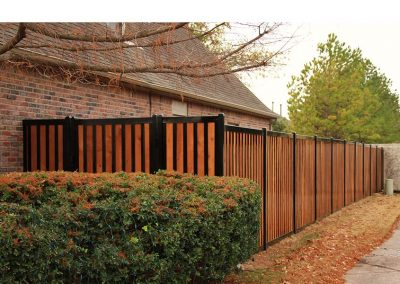 FenceTrac Elegant Black Metal & Cedar Privacy Fence