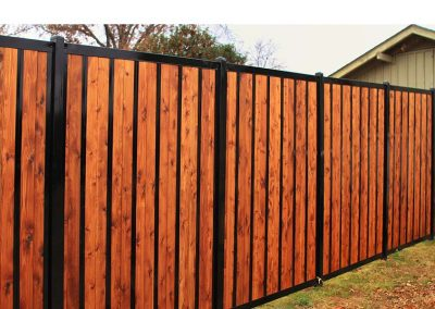 Black Metal & Wood Privacy Fence