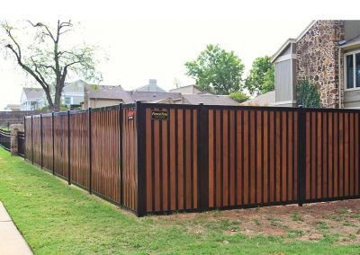 FenceTrac Privacy Fence With Stained Cedar & H-tracs