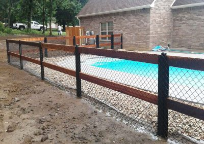 FenceTrac Ranch Rail Pool Fence With Black Chain Link