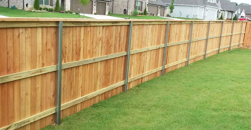 Wood Fence With Metal Posts